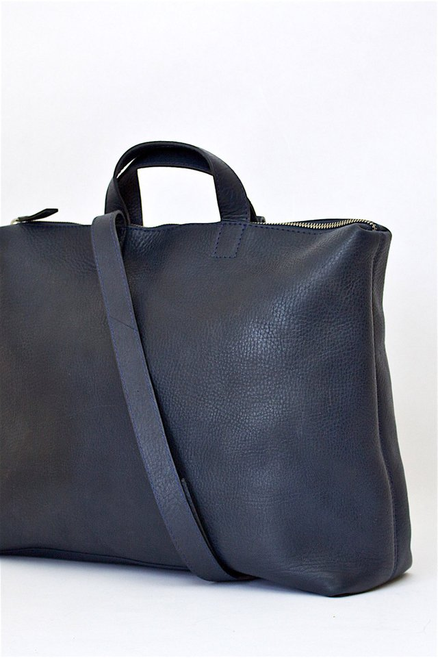 Leather Satchel S Navy