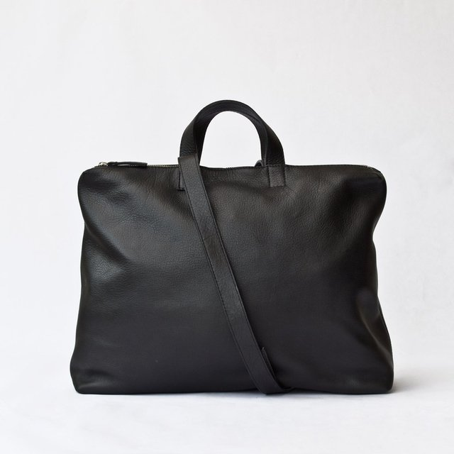 Black leather satchel with top metal zip by Le Bas