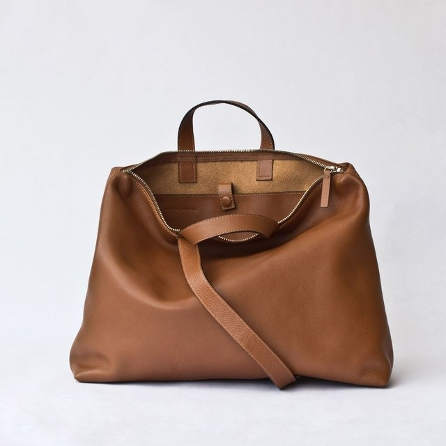 Chestnut leather satchel with top metal zip by Le Bas