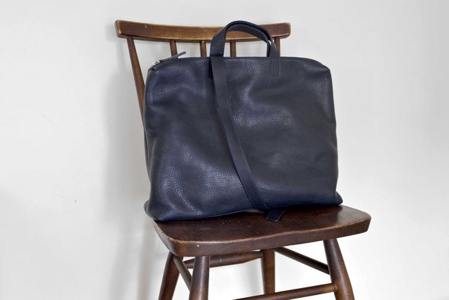 Leather Satchel S Navy - online store