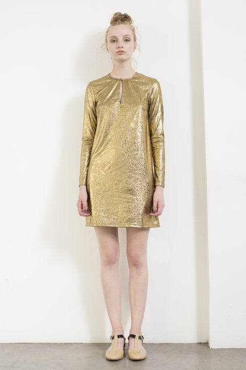 Gold long sleeve short dress by Dandelion & Burdock. Made in Argentina