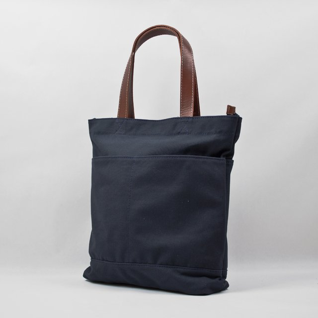 Blue water resistan cotton canvas tote with vegetable leather straps