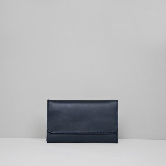 Leather Wallet S Navy on internet
