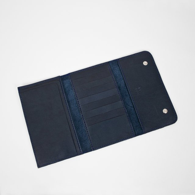 Leather Wallet S Navy - online store