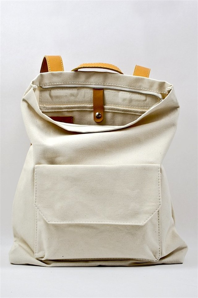 LE BAS Zip Pack Canvas Ecru & Tan