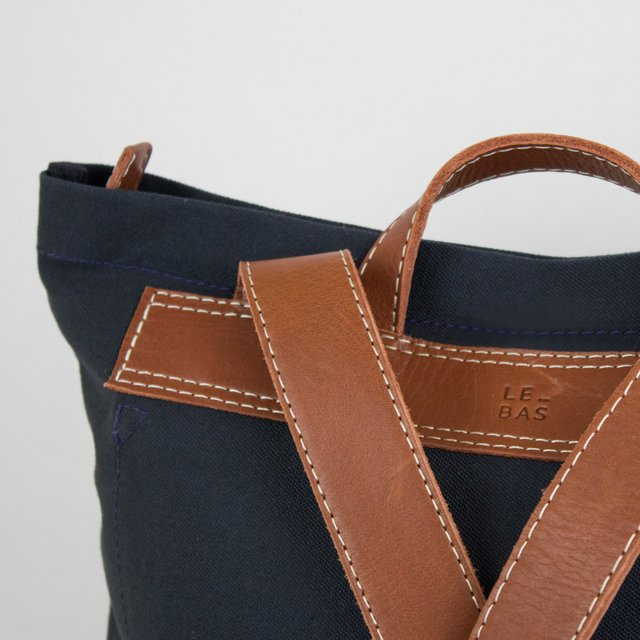 Navy backpack in water resistan cotton canvas and leather
