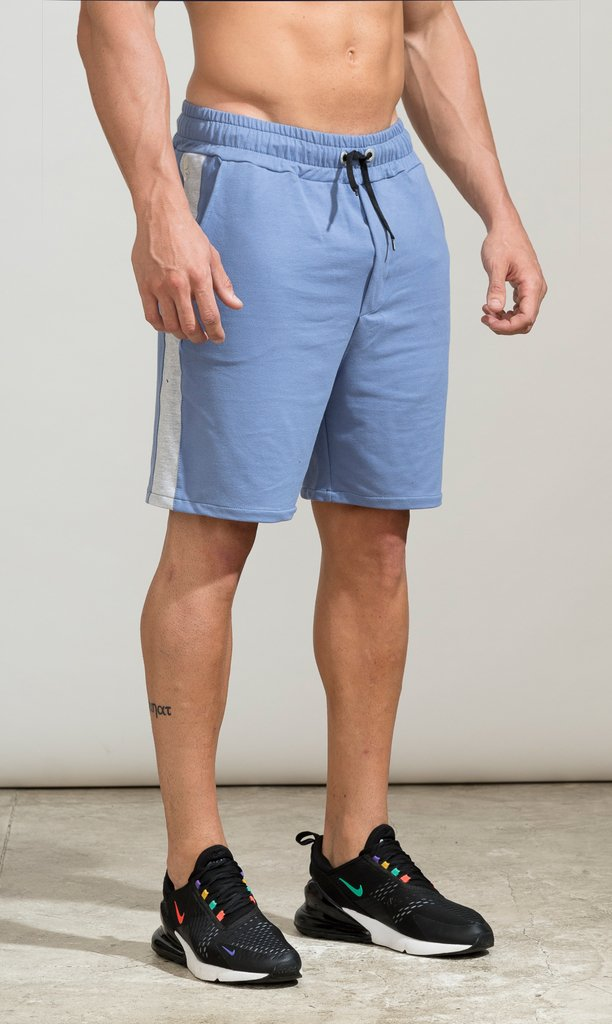 Cotton bermudas - light blue & grey on internet