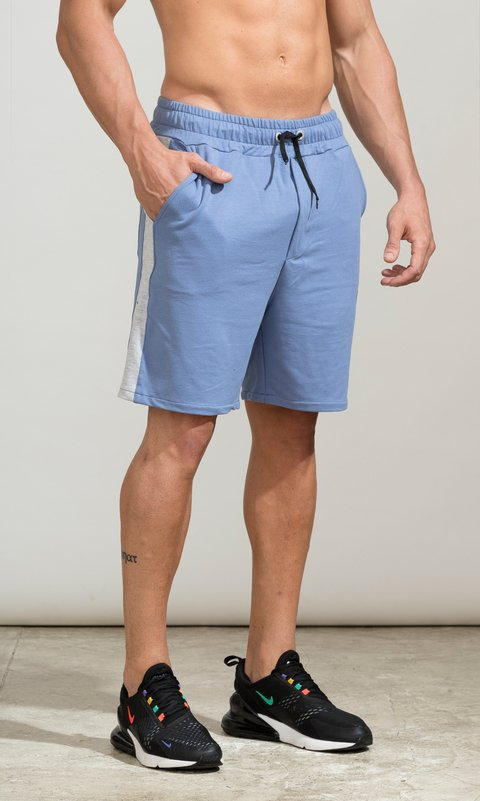 Cotton bermudas - light blue & grey
