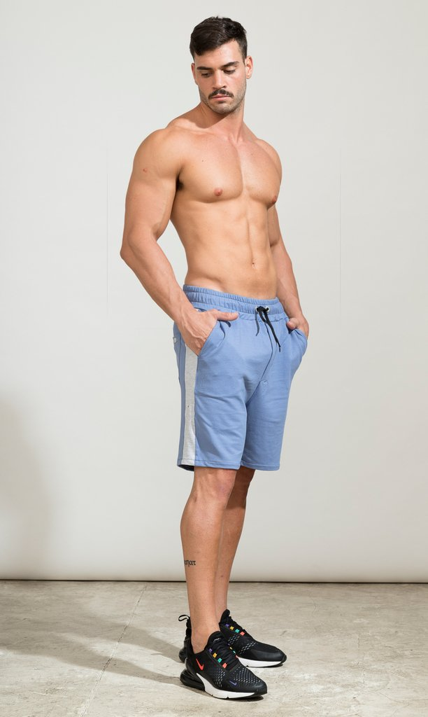 Cotton bermudas - light blue & grey - buy online