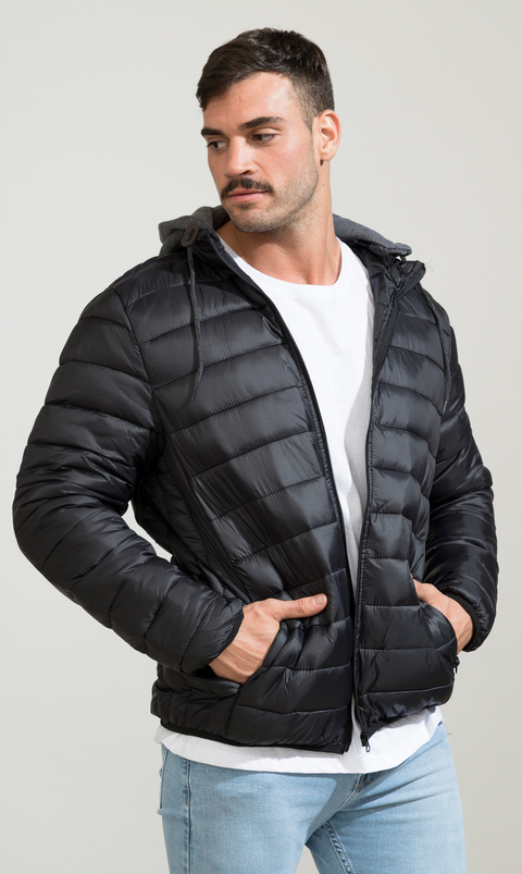 Puffy hoodie Jacket - Black