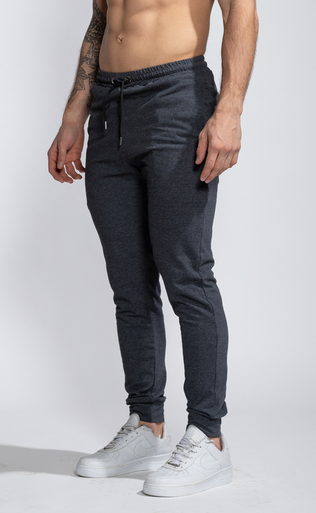 Skinny cotton jogger- Dark grey - buy online