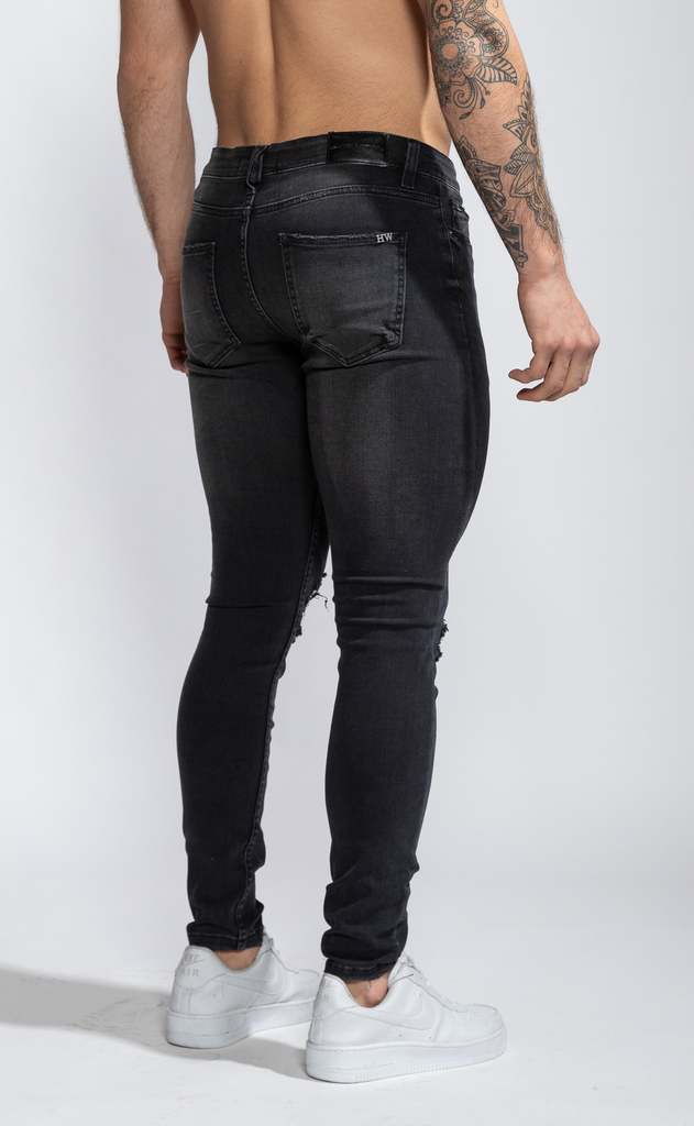 Skinny Jeans - Grey with cuts - Harvey & Willys - buy online