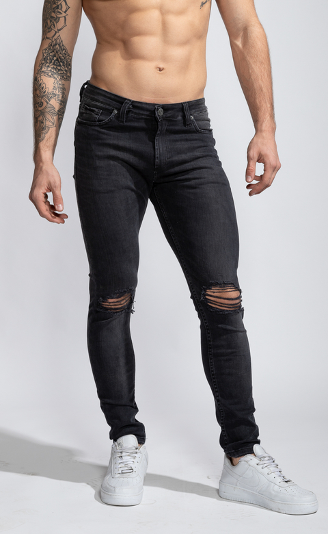 Skinny Jeans - Grey with cuts - Harvey & Willys