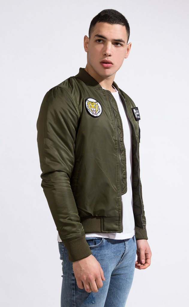 Bomber jacket - Green with patches - buy online
