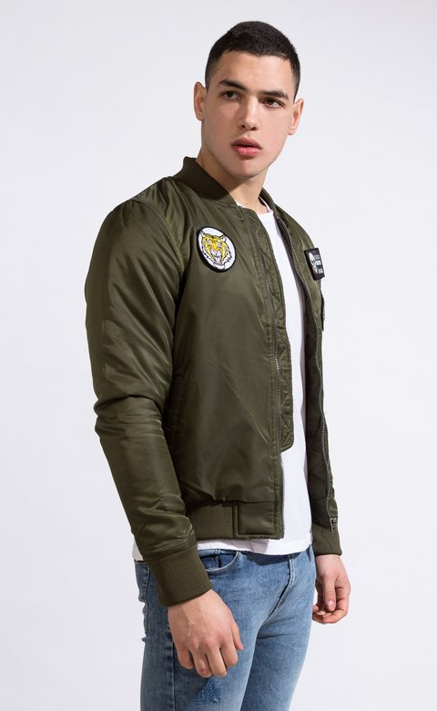 Bomber jacket - Green with patches - comprar online