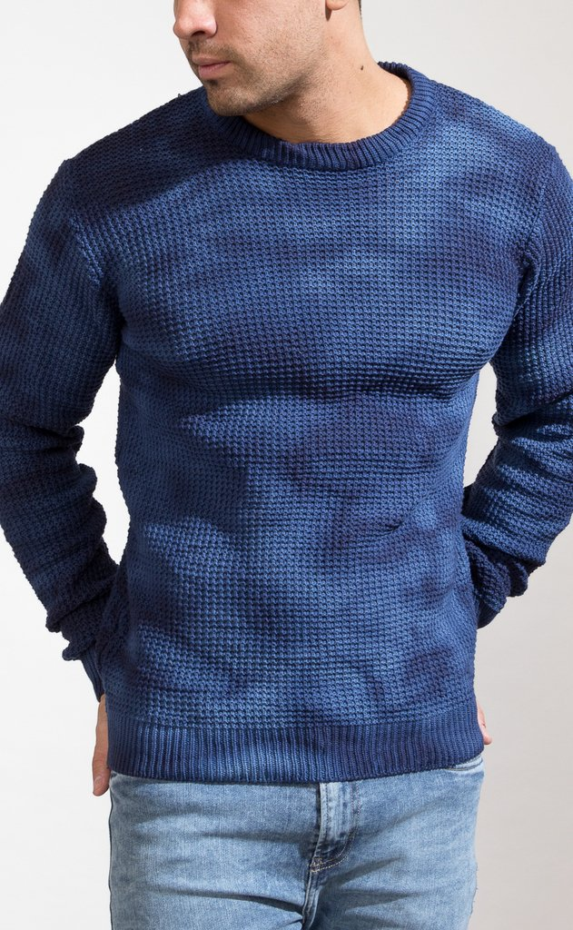 Heavy Knit sweatshirt - Blue batik