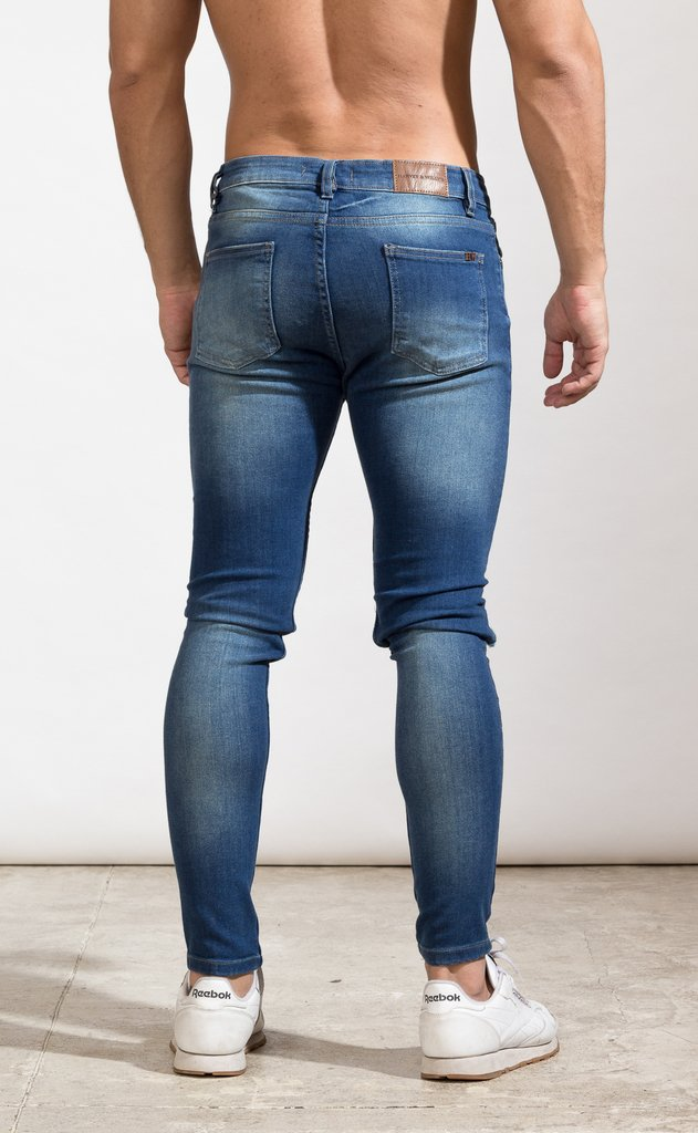 Skinny Jeans - Blue with cut - Mohammed