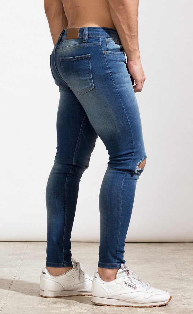 Skinny Jeans - Blue with cut - tienda online