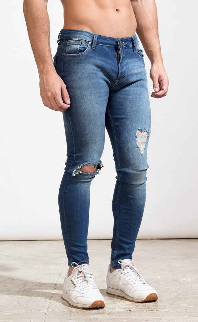 Skinny Jeans - Blue with cut - comprar online