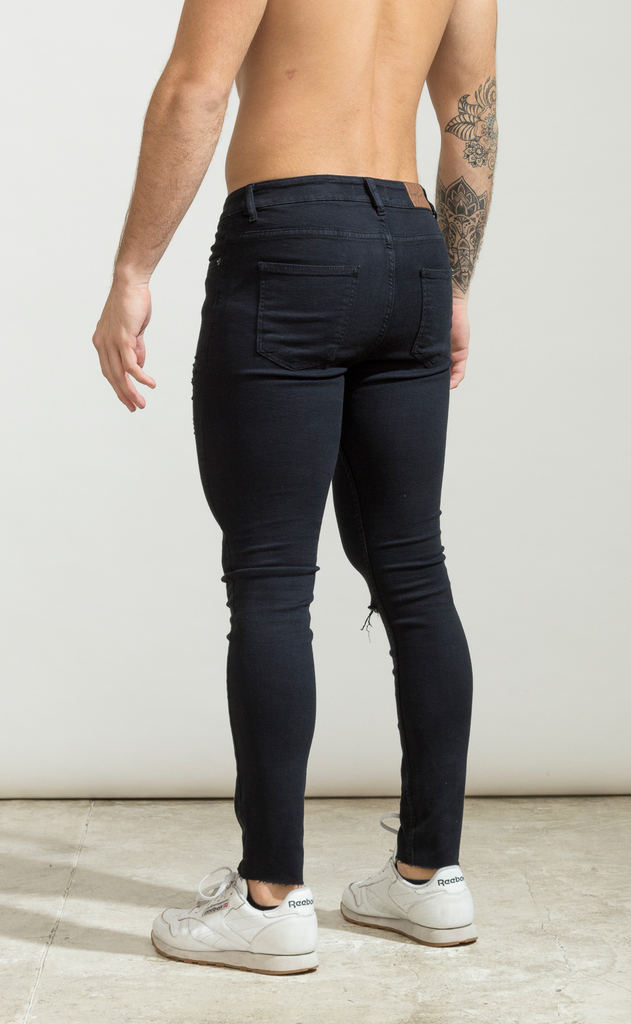 Skinny Jeans - Black with cut  - Harvey & Willys - buy online