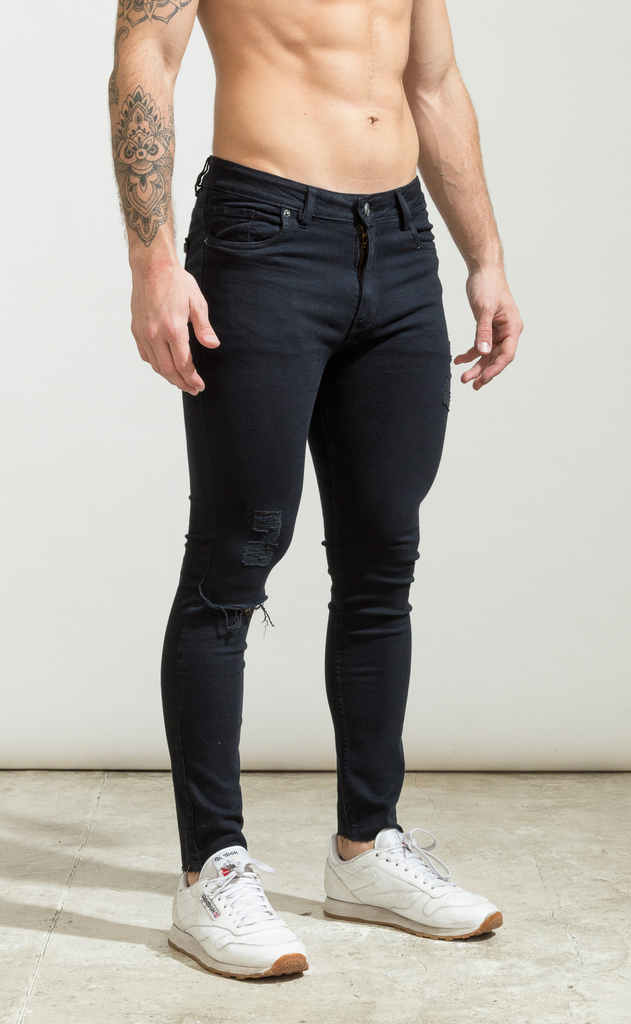 Skinny Jeans - Black with cut  - Harvey & Willys