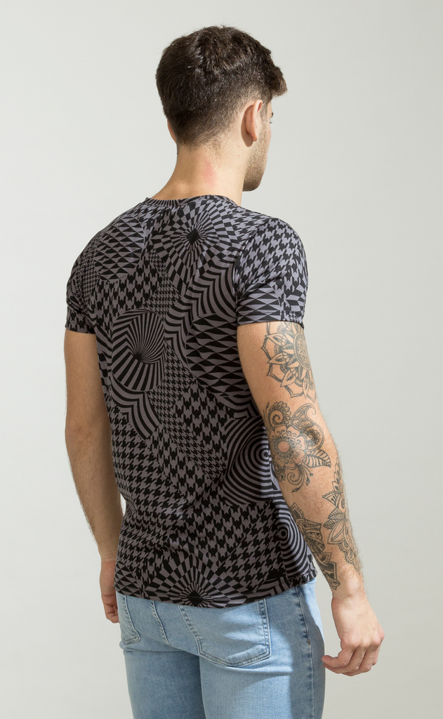 Brooklyn tshirt - Kaleidoscope black & grey - buy online