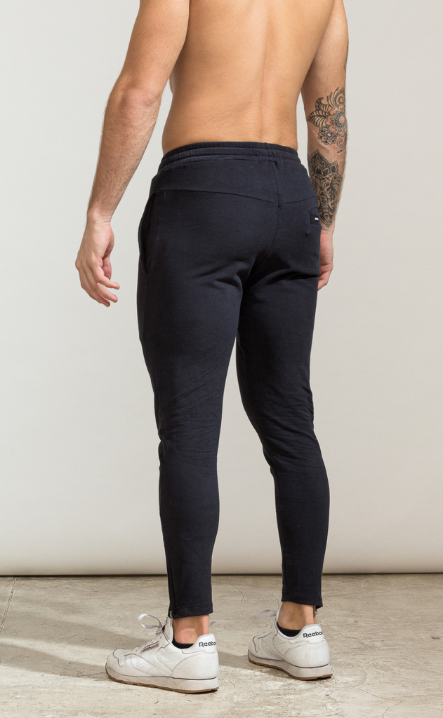 Skinny zipper cotton jogger- Black - buy online