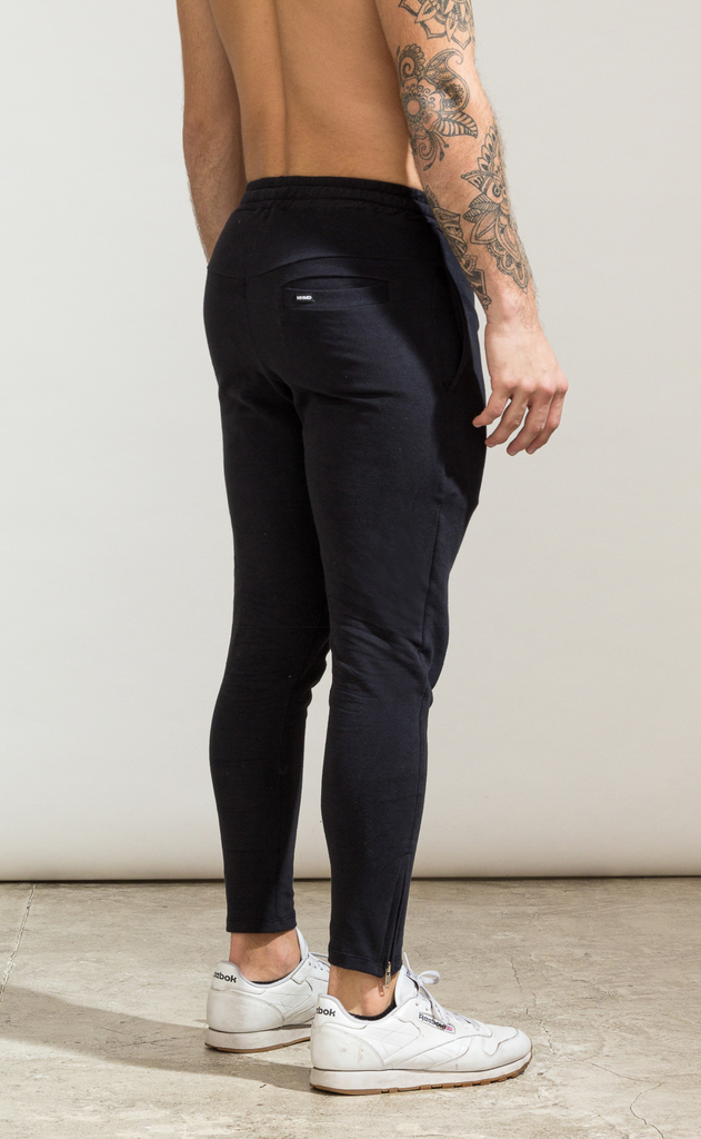 Skinny zipper cotton jogger- Black en internet