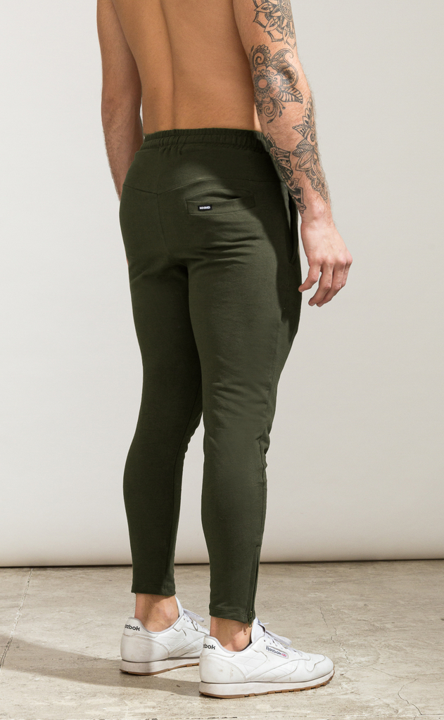 Skinny zipper cotton jogger- Army - comprar online