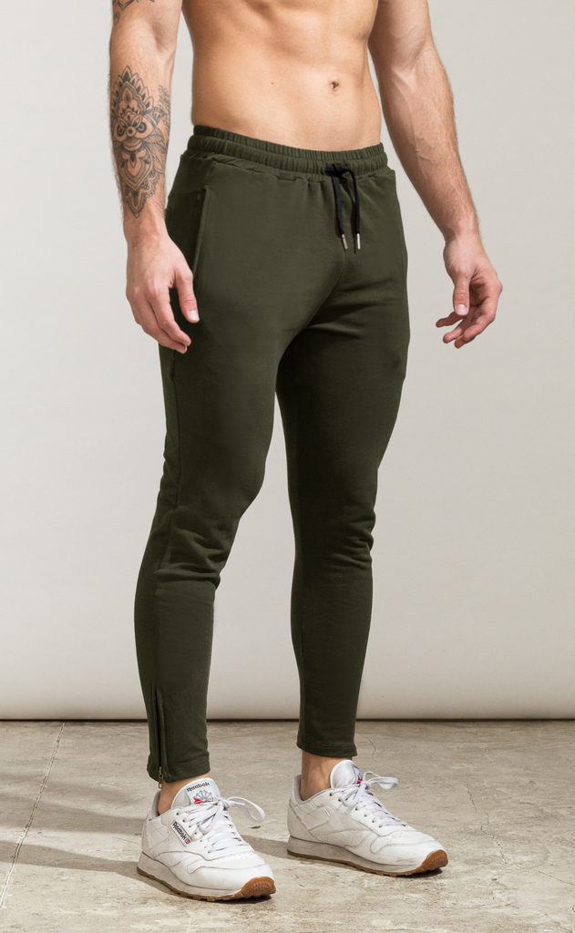 Skinny zipper cotton jogger- Army on internet
