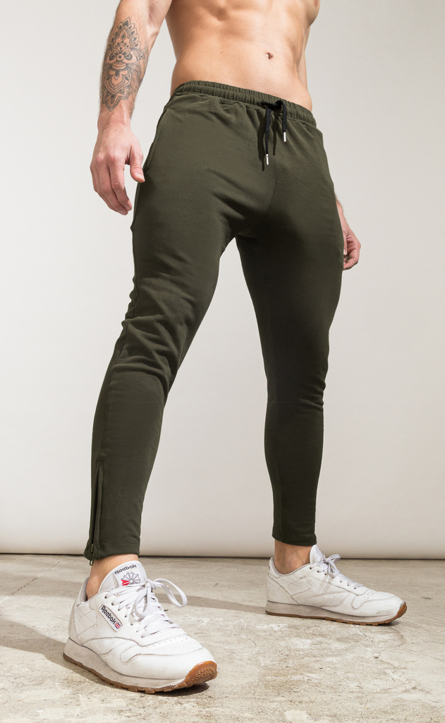 Skinny zipper cotton jogger- Army