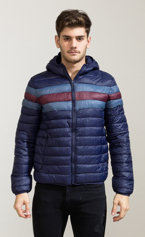 Puffy hoodie Jacket - wine & navy