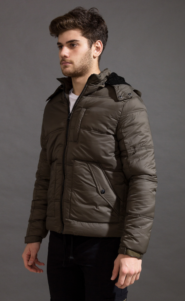 Puffer jacket w/ Fur - Army on internet