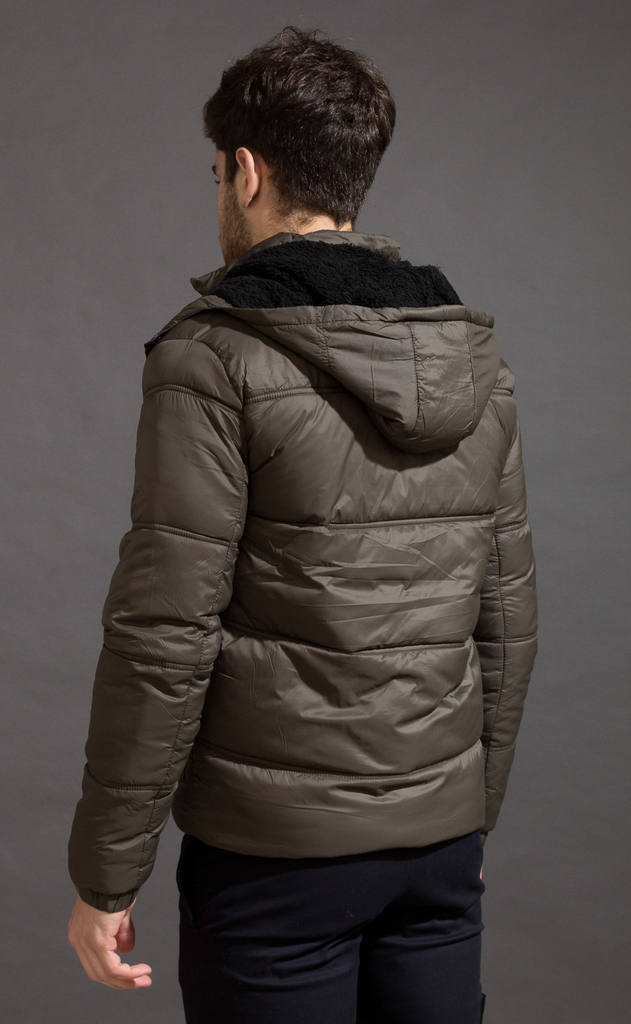 Puffer jacket w/ Fur - Army - buy online