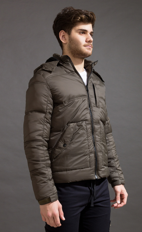 Puffer jacket w/ Fur - Army