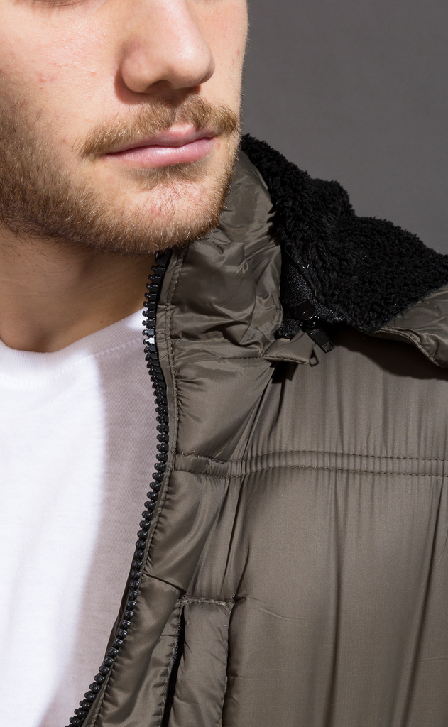 Puffer jacket w/ Fur - Army - online store