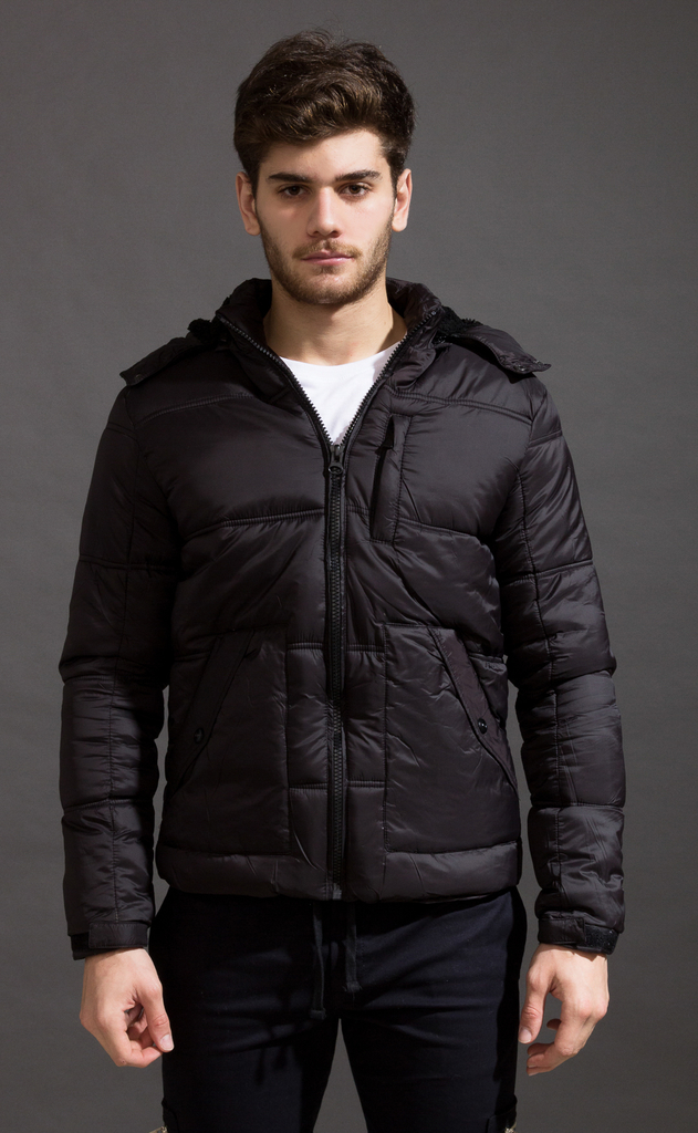 Puffer jacket w/ Fur - Black on internet