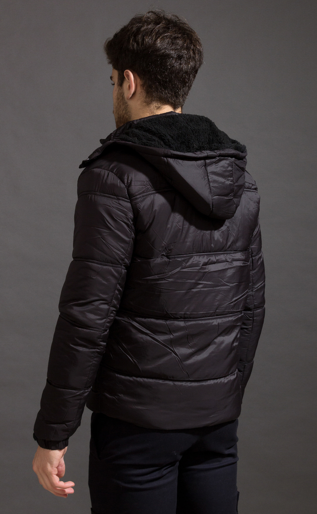 Puffer jacket w/ Fur - Black - buy online