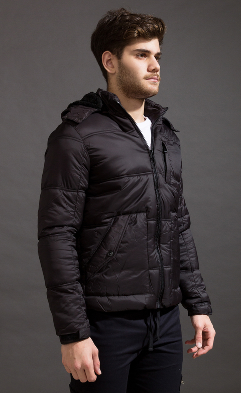 Puffer jacket w/ Fur - Black