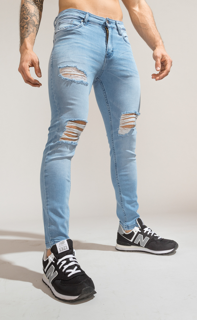 Skinny Jeans - Light blue summer cuts - Harvey & Willys