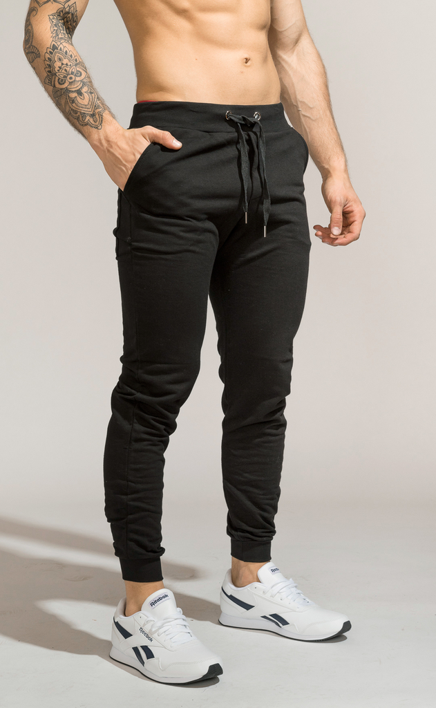 Skinny cotton jogger (SOLO ONLINE) - black