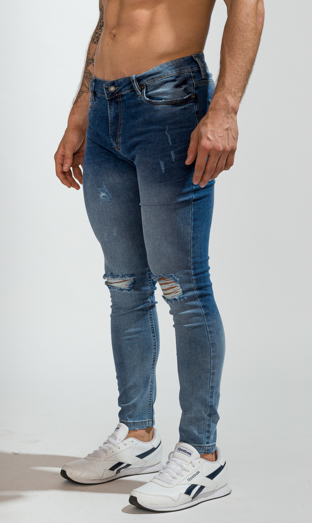 Skinny Jeans - Blue with cuts