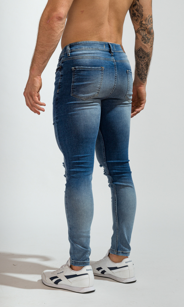 Skinny Jeans - Blue with cuts - comprar online