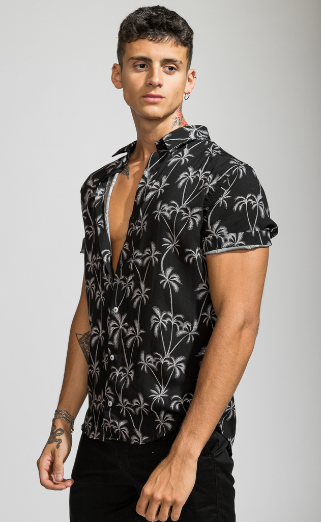 Flowy shirt - Black palms en internet