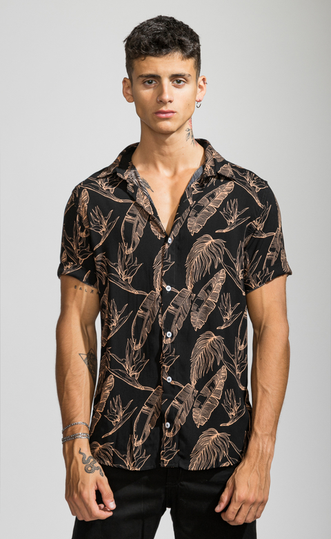 Flowy shirt - Camel leaves