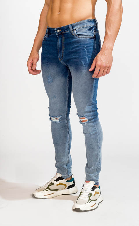 Skinny Jeans - light & dark with cuts - buy online