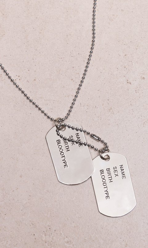 army necklace double - silver