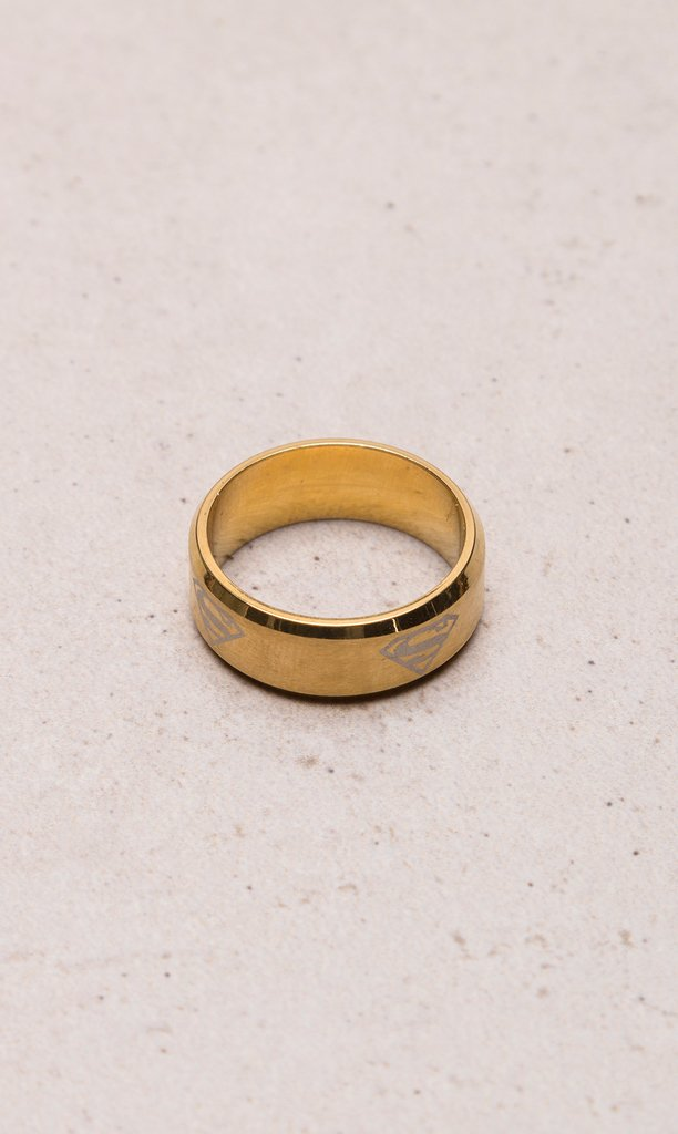 Stainless steel golden polished ring - Superman
