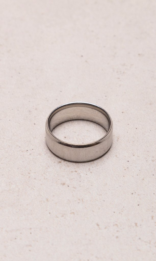 Stainless steel ring polished ring - Silver