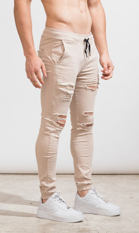 Gabe Skinny Jogger - destroyed cream